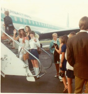 Boarding jet Anchorage Airport - Donna Russell on left (wearing hat)