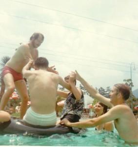 Swimming at Takarazuka (Mr. Watson on right)